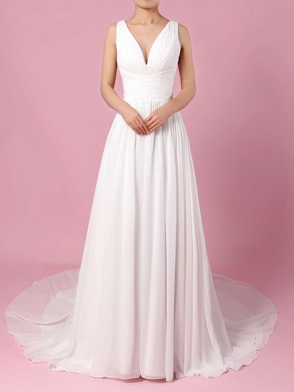 Chiffon V-neck A-line Sweep Train Beading Wedding Dresses #LDB00023289
