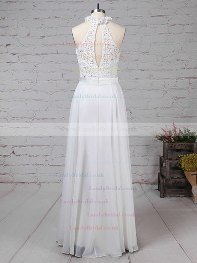 Lace Chiffon High Neck A-line Floor-length Beading Wedding Dresses #LDB00023296