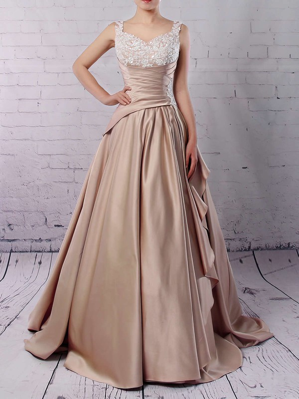 Satin V-neck Ball Gown Sweep Train Appliques Lace Wedding Dresses #LDB00023307