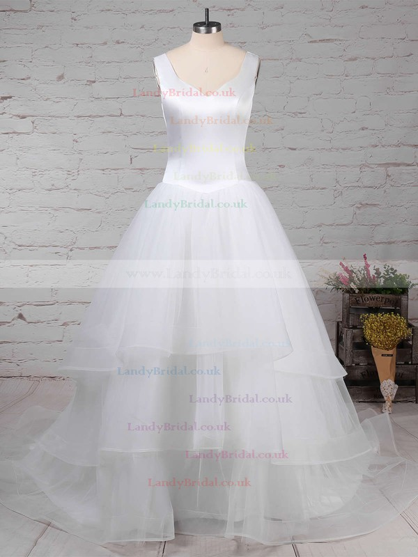 Satin Tulle V-neck Ball Gown Sweep Train Tiered Wedding Dresses #LDB00023312