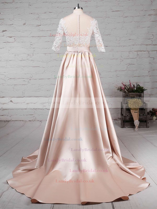 Satin Tulle Scoop Neck Ball Gown Sweep Train Appliques Lace Wedding Dresses #LDB00023314
