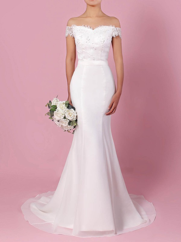 Lace Chiffon Off-the-shoulder Trumpet/Mermaid Sweep Train Sashes / Ribbons Wedding Dresses #LDB00023358