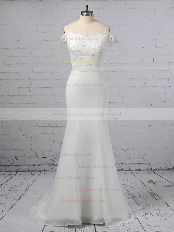 Lace Chiffon Off-the-shoulder Trumpet/Mermaid Sweep Train Sashes / Ribbons Wedding Dresses #LDB00023358