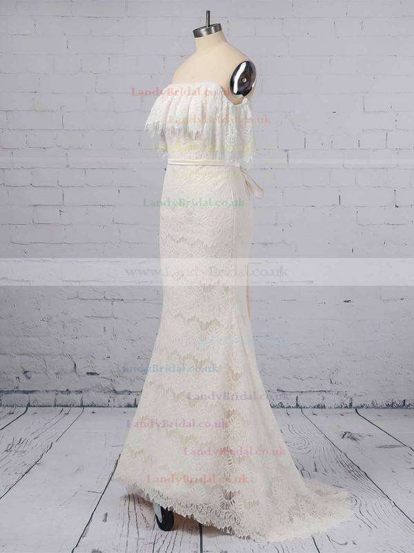 Lace Off-the-shoulder Trumpet/Mermaid Sweep Train Sashes / Ribbons Wedding Dresses #LDB00023361