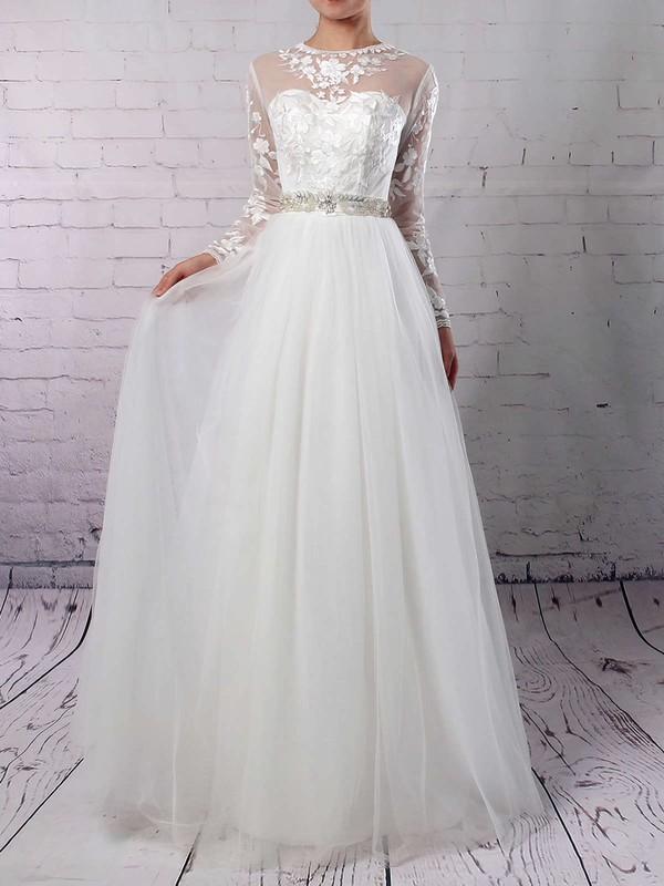 Tulle Scoop Neck A-line Floor-length Appliques Lace Wedding Dresses #LDB00023127