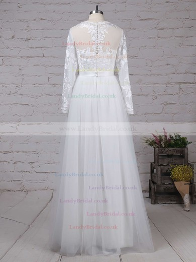 Tulle Scoop Neck A-line Floor-length Appliques Lace Wedding Dresses #LDB00023127