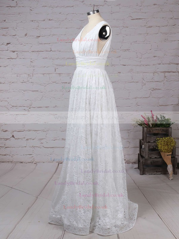 Lace V-neck Princess Floor-length Ruffles Wedding Dresses #LDB00023128