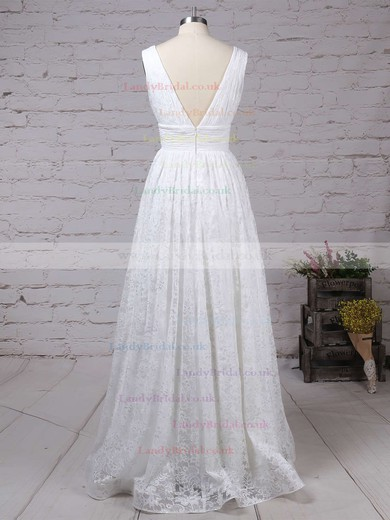 Lace V-neck Princess Floor-length Ruffles Wedding Dresses #LDB00023128