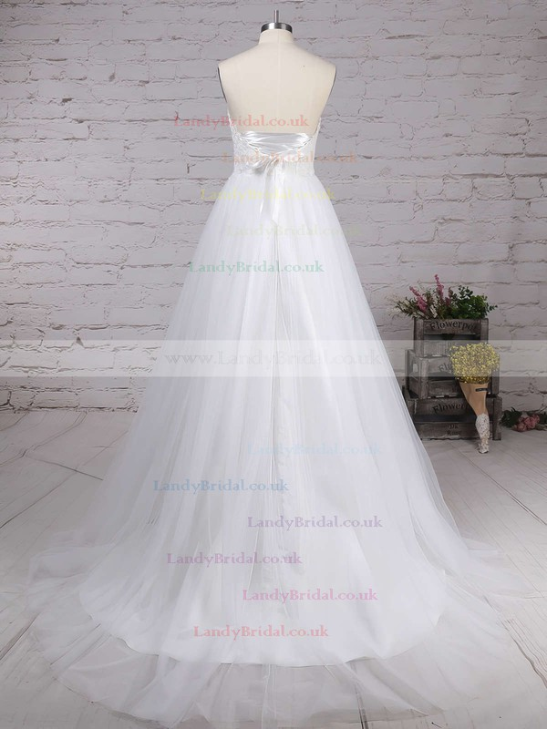 Tulle Sweetheart A-line Sweep Train Appliques Lace Wedding Dresses #LDB00023130