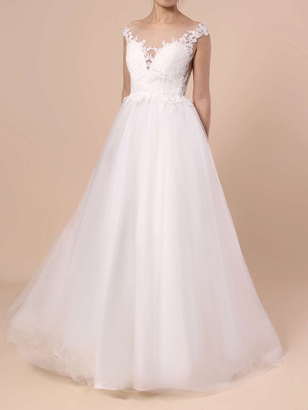 Tulle Scoop Neck Princess Sweep Train Appliques Lace Wedding Dresses #LDB00023132