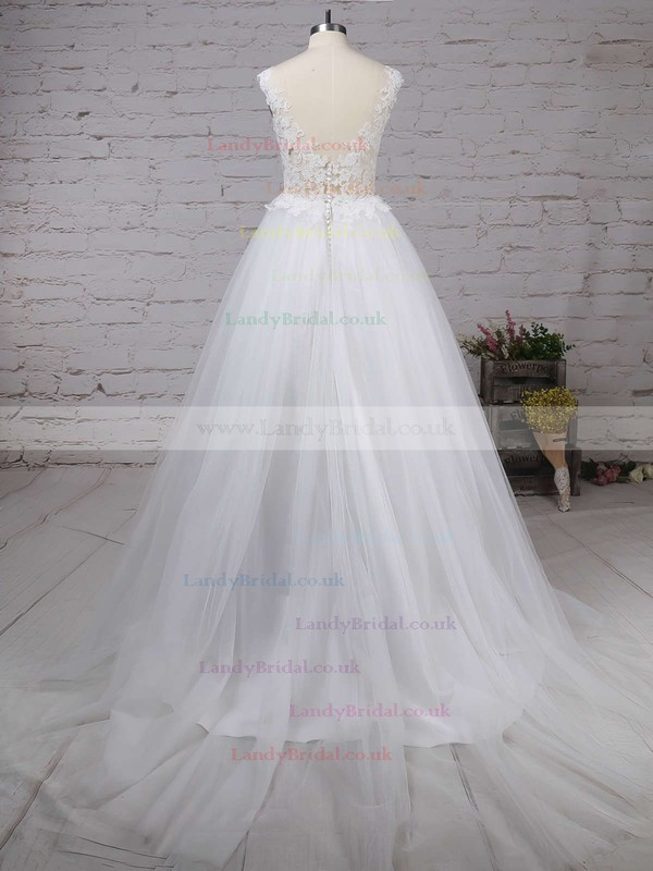 Tulle Scoop Neck Princess Sweep Train Appliques Lace Wedding Dresses #LDB00023132