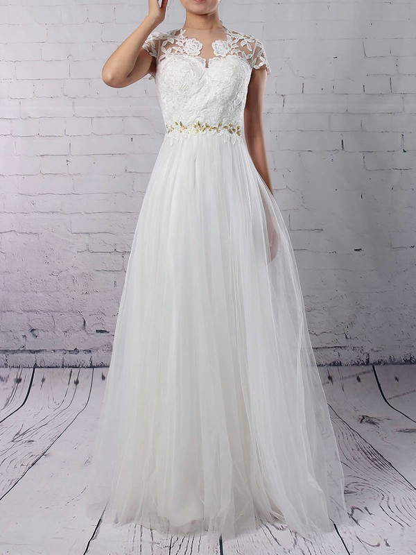 Tulle Scoop Neck A-line Floor-length Beading Wedding Dresses #LDB00023133