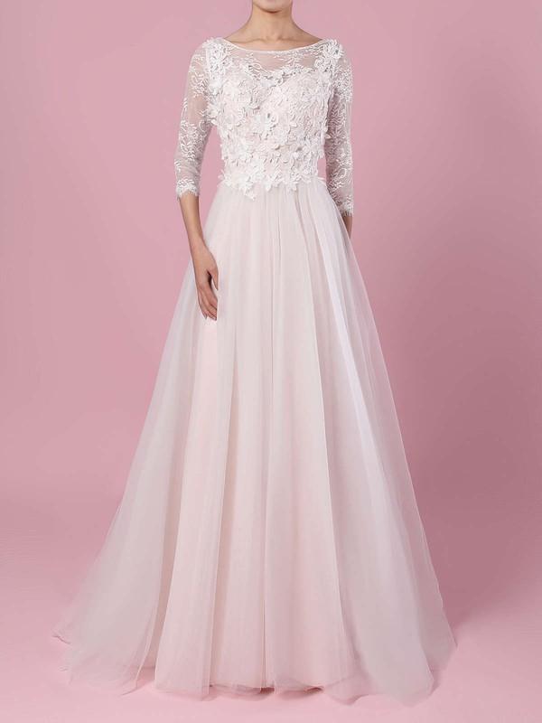 Lace Tulle Scoop Neck A-line Sweep Train Appliques Lace Wedding Dresses #LDB00023134