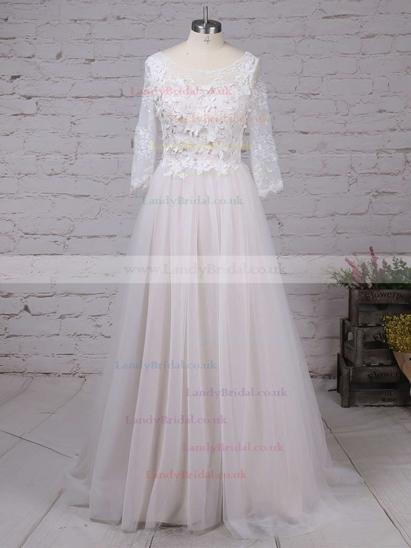 Lace Tulle Scoop Neck A-line Sweep Train Appliques Lace Wedding Dresses #LDB00023134