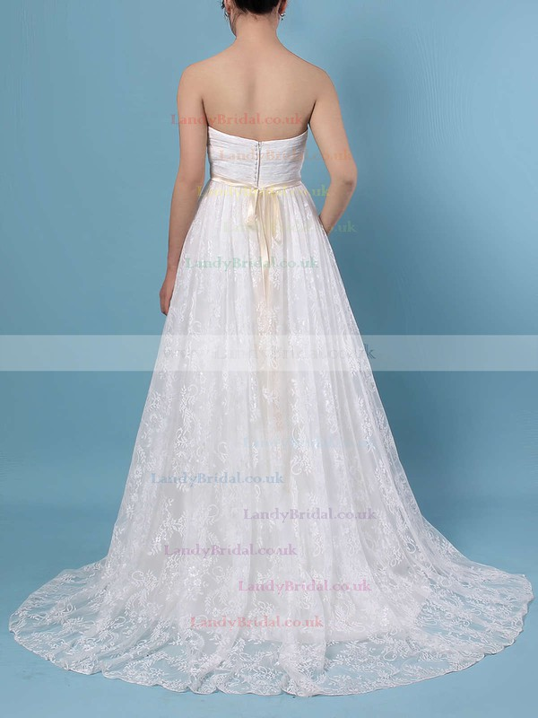 Lace Sweetheart A-line Sweep Train Sashes / Ribbons Wedding Dresses #LDB00023136