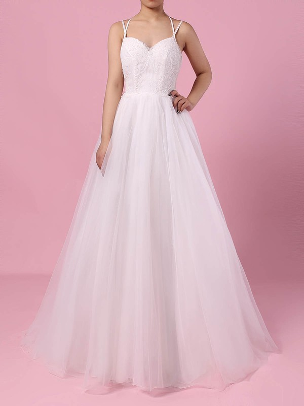 Tulle V-neck A-line Sweep Train Lace Wedding Dresses #LDB00023138