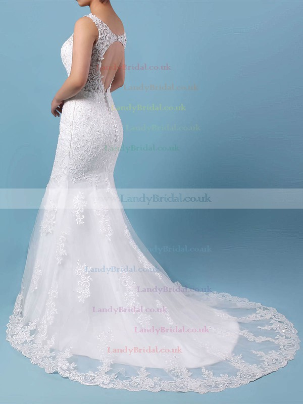 Tulle V-neck Trumpet/Mermaid Detachable Beading Wedding Dresses #LDB00023148
