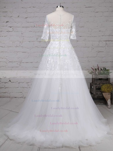 Tulle Scoop Neck Ball Gown Sweep Train Beading Wedding Dresses #LDB00023168