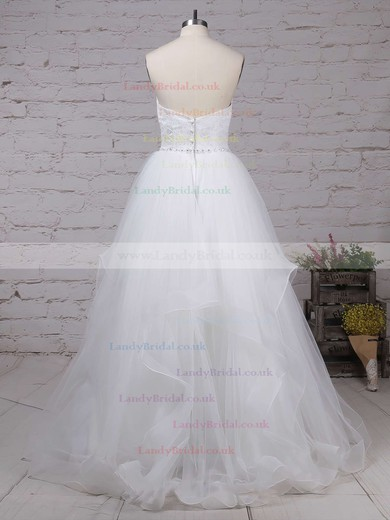 Lace Tulle Sweetheart Ball Gown Sweep Train Beading Wedding Dresses #LDB00023172