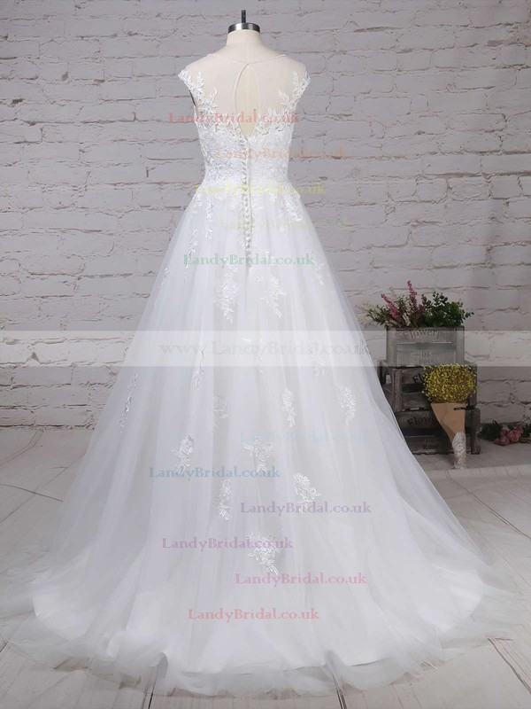 Tulle Scoop Neck Ball Gown Sweep Train Appliques Lace Wedding Dresses #LDB00023174
