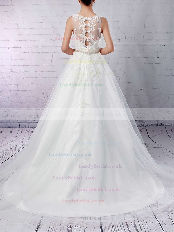 Tulle Scoop Neck Princess Sweep Train Beading Wedding Dresses #LDB00023178