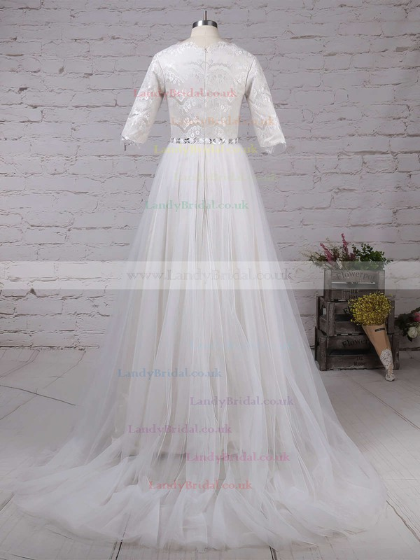 Lace Tulle Scalloped Neck A-line Sweep Train Beading Wedding Dresses #LDB00023179