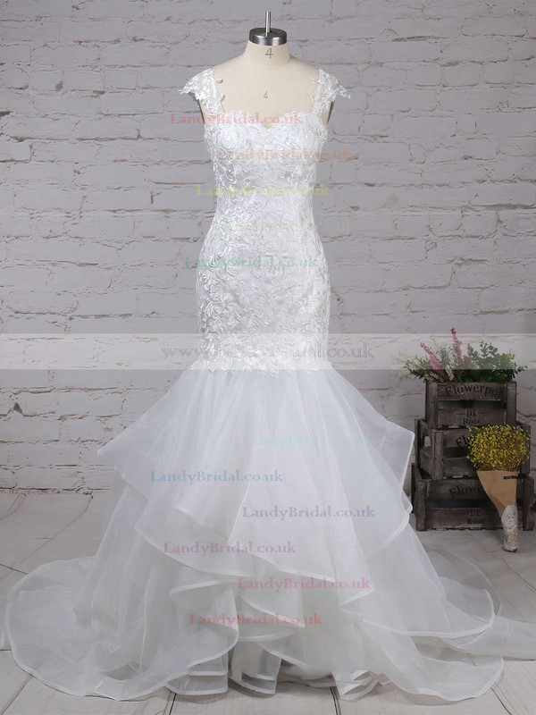 Organza Sweetheart Trumpet/Mermaid Sweep Train Appliques Lace Wedding Dresses #LDB00023180