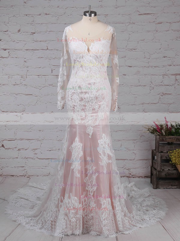 Tulle Scoop Neck Trumpet/Mermaid Sweep Train Appliques Lace Wedding Dresses #LDB00023183