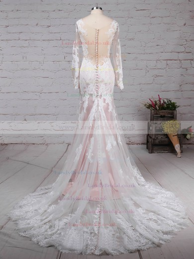 Tulle Scoop Neck Trumpet/Mermaid Sweep Train Appliques Lace Wedding Dresses #LDB00023183