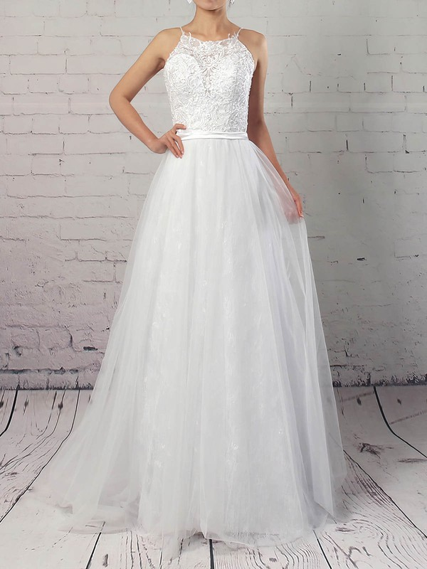 Lace Tulle Scoop Neck A-line Sweep Train Appliques Lace Wedding Dresses #LDB00023184