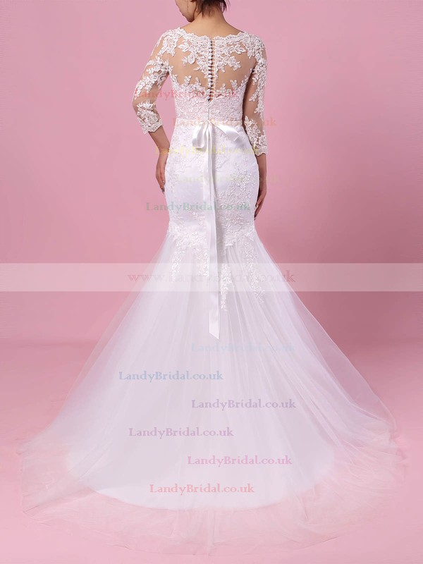 Tulle V-neck Trumpet/Mermaid Sweep Train Appliques Lace Wedding Dresses #LDB00023194