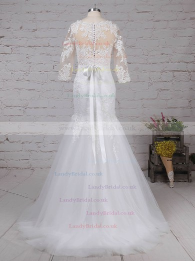 Tulle V-neck Trumpet/Mermaid Sweep Train Appliques Lace Wedding Dresses #LDB00023194