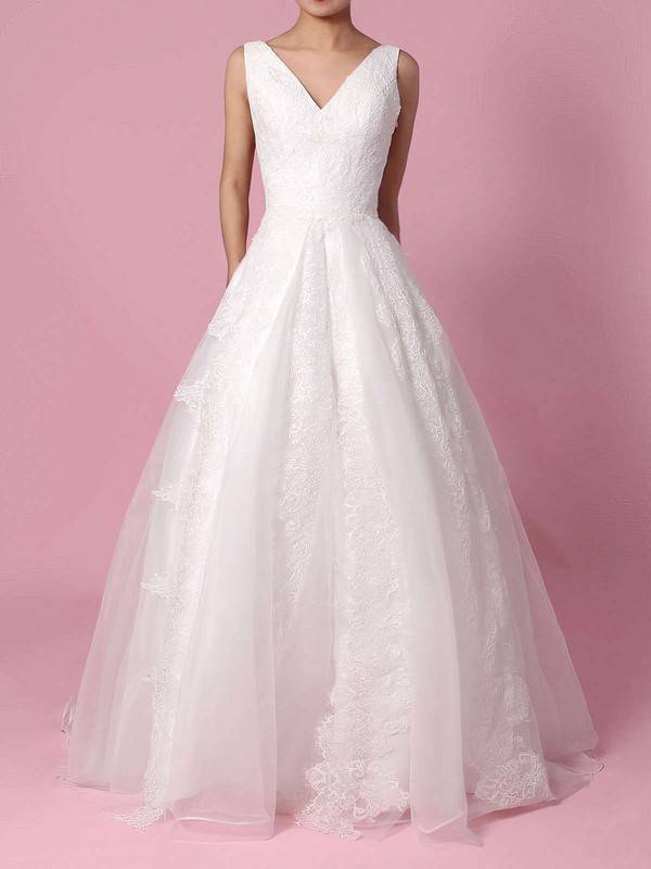 Organza V-neck Ball Gown Sweep Train Appliques Lace Wedding Dresses #LDB00023195