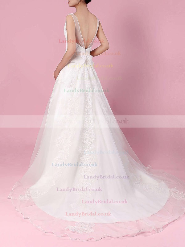 Organza V-neck Ball Gown Sweep Train Appliques Lace Wedding Dresses #LDB00023195
