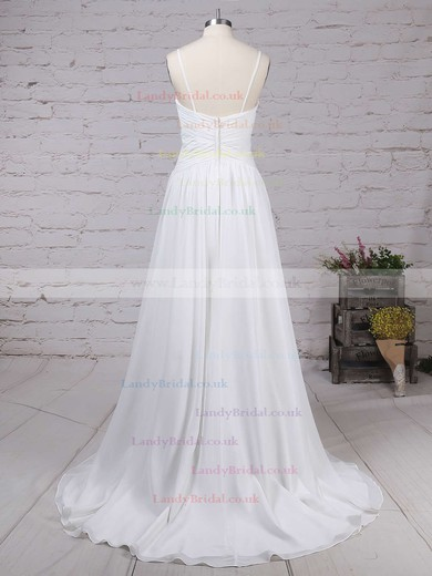 Chiffon V-neck A-line Sweep Train Ruched Wedding Dresses #LDB00023199
