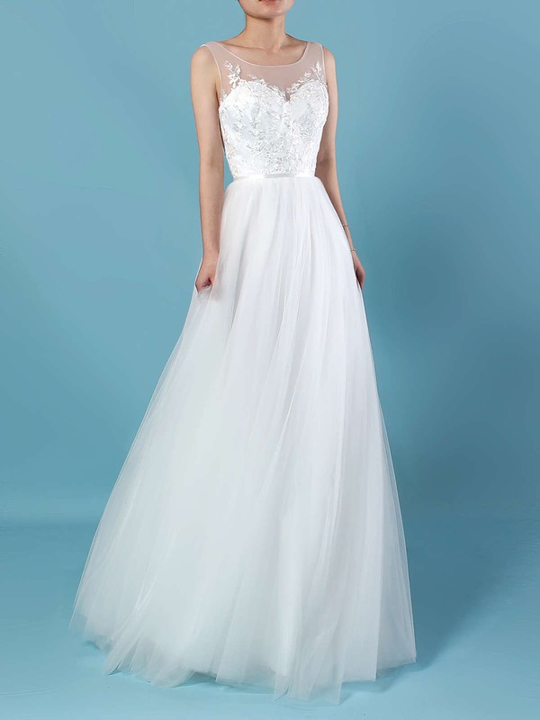 Tulle Scoop Neck Ball Gown Sweep Train Appliques Lace Wedding Dresses #LDB00023205