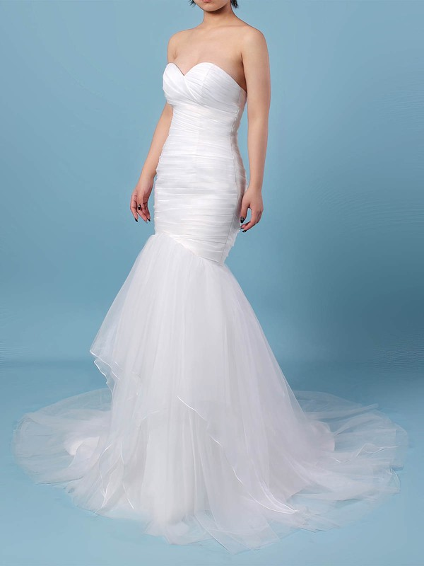 Tulle Sweetheart Trumpet/Mermaid Sweep Train Ruffles Wedding Dresses #LDB00023206