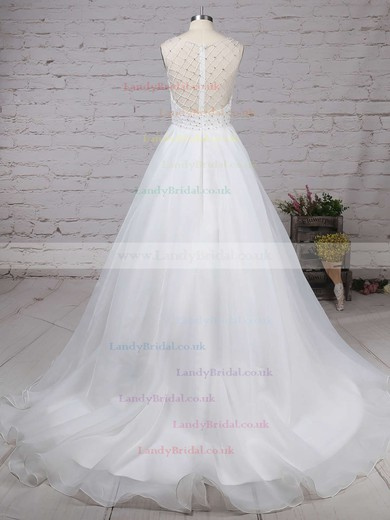 Organza Tulle V-neck Ball Gown Sweep Train Beading Wedding Dresses #LDB00023224