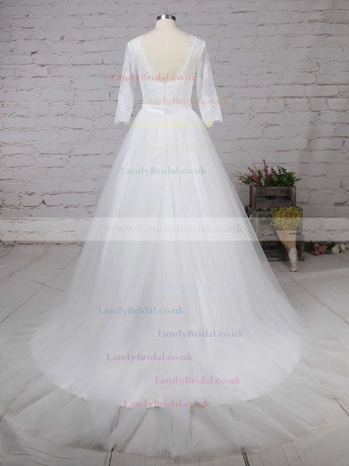 Lace Tulle V-neck Ball Gown Sweep Train Sashes / Ribbons Wedding Dresses #LDB00023226