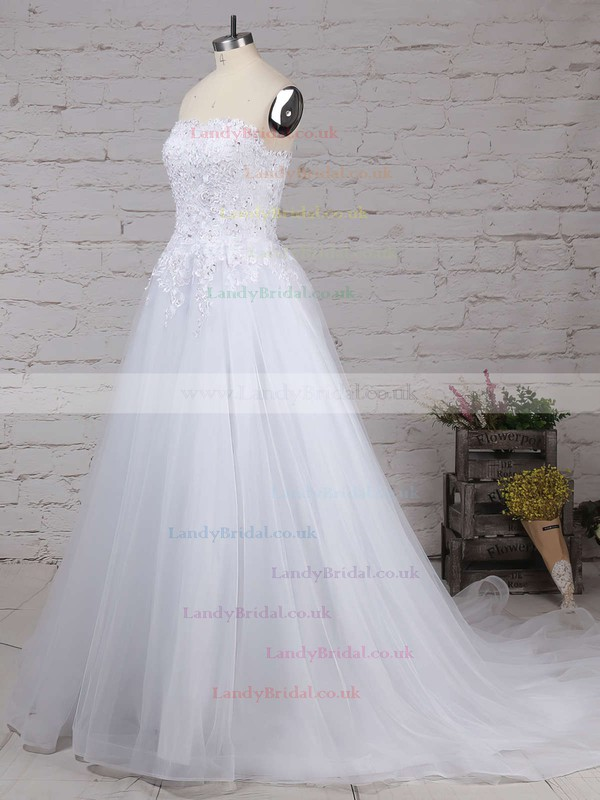 Tulle Strapless Ball Gown Sweep Train Beading Wedding Dresses #LDB00023236