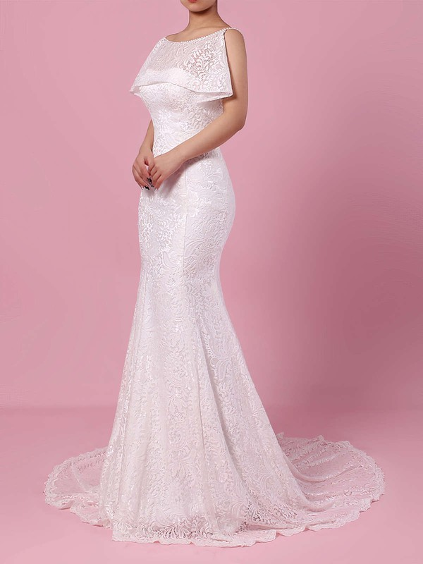 Lace Scoop Neck Trumpet/Mermaid Sweep Train Beading Wedding Dresses #LDB00023238