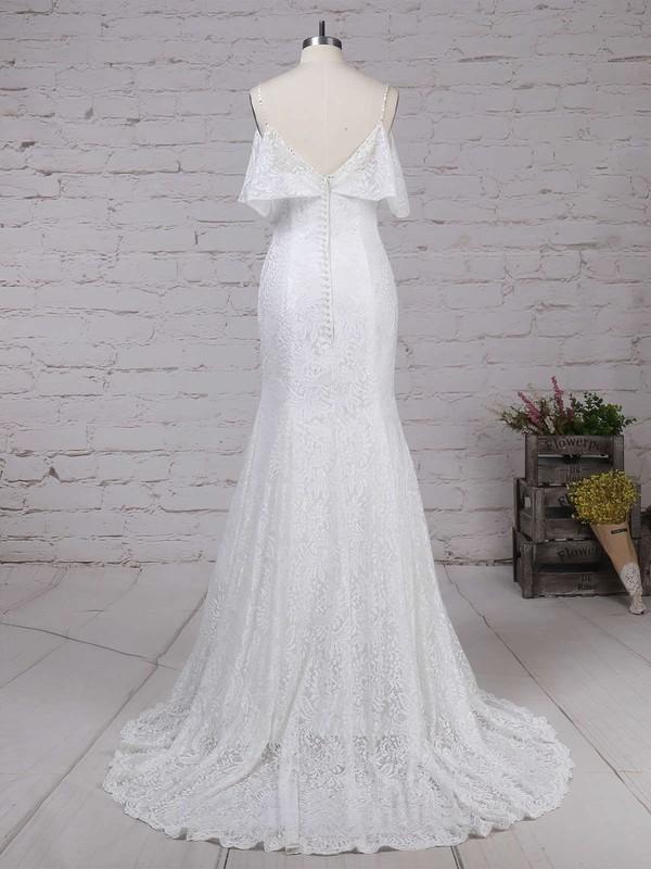 Lace Scoop Neck Trumpet/Mermaid Sweep Train Beading Wedding Dresses #LDB00023238