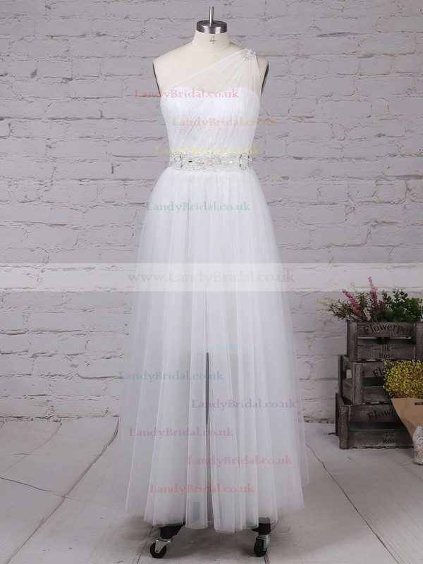 Lace Tulle One Shoulder Princess Ankle-length Beading Wedding Dresses #LDB00023245