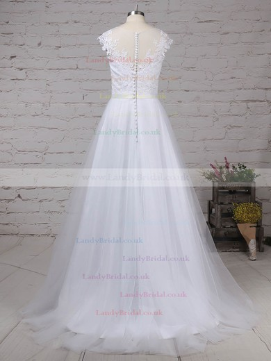 Tulle Scoop Neck A-line Sweep Train Appliques Lace Wedding Dresses #LDB00023248