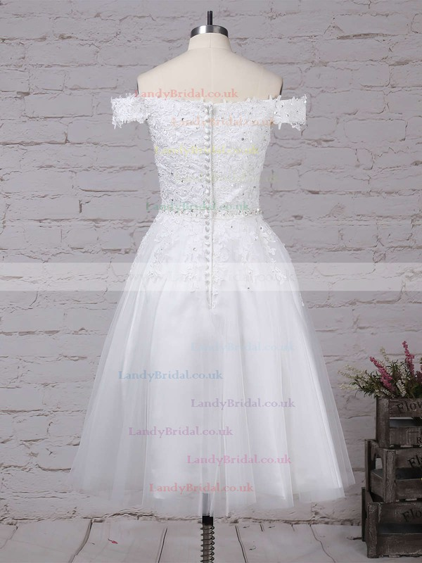 Tulle Off-the-shoulder Ball Gown Tea-length Beading Wedding Dresses #LDB00023267