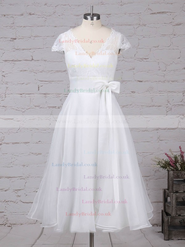 Lace Chiffon V-neck Princess Tea-length Sashes / Ribbons Wedding Dresses #LDB00023270