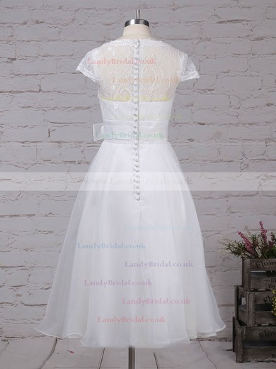 Lace Chiffon V-neck Princess Tea-length Sashes / Ribbons Wedding Dresses #LDB00023270