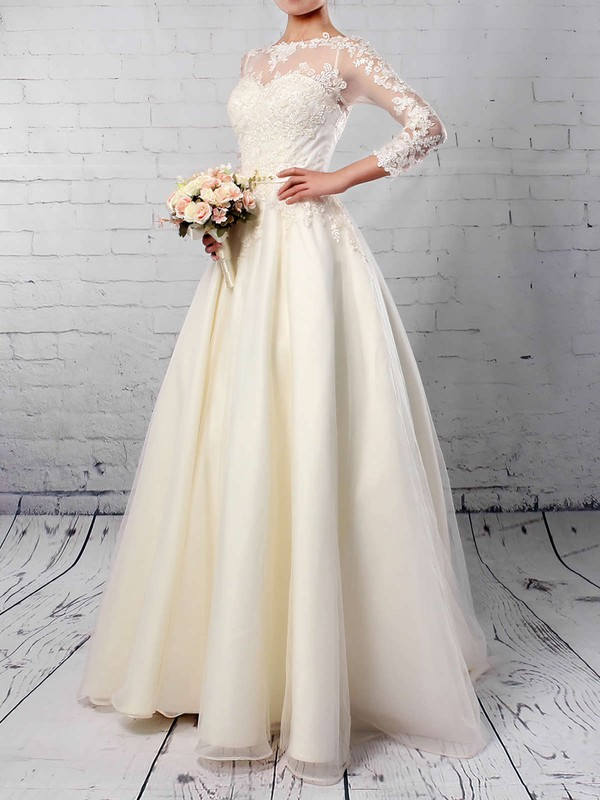 Tulle Scoop Neck Ball Gown Sweep Train Appliques Lace Wedding Dresses #LDB00023285
