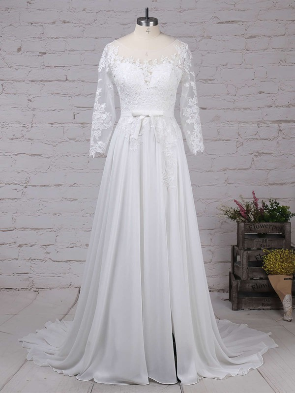 Chiffon Tulle Scoop Neck A-line Sweep Train Appliques Lace Wedding Dresses #LDB00023290