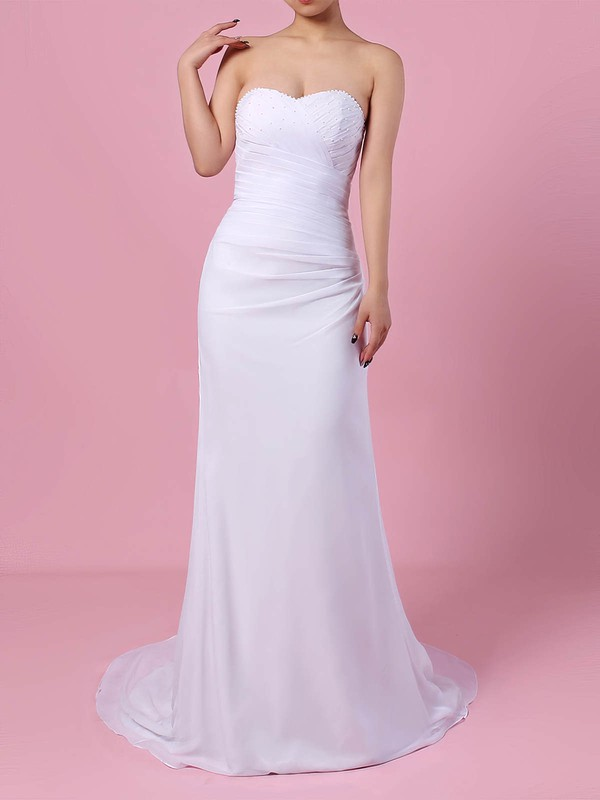 Chiffon Sweetheart Trumpet/Mermaid Sweep Train Beading Wedding Dresses #LDB00023292